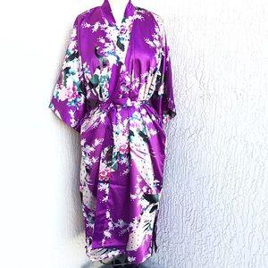 Jackets & Blazers - Beautiful Purple Silk Kimono Duster Robe!